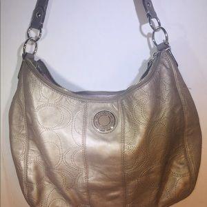 COACH Signature Hobo Shoulder Bag Metallic Pewter